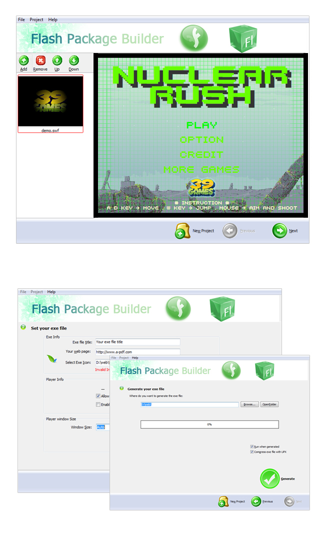 Boxoft Flash Package Builder - Convert flash to exe files, protect