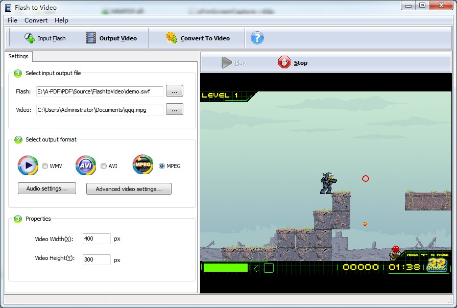 Screenshot of Boxoft Flash to Video