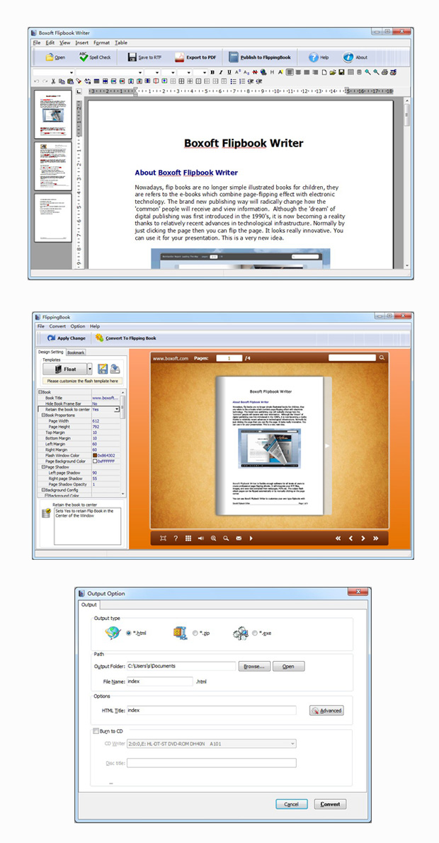 Edit text files and make flash books