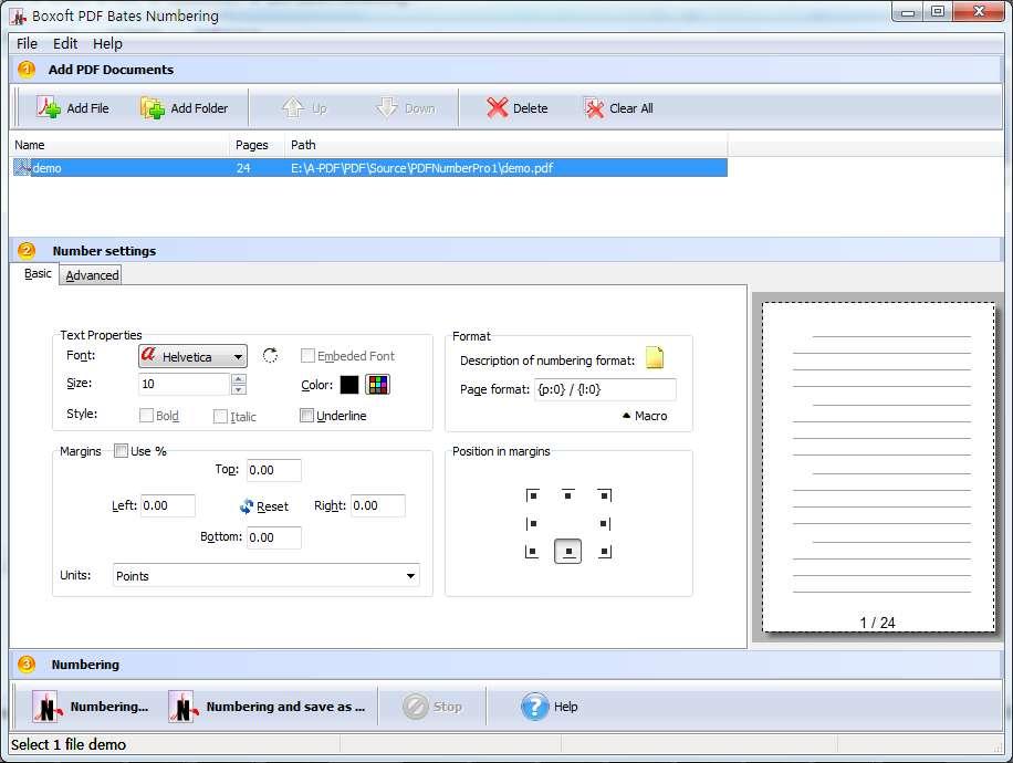 Windows 7 Boxoft PDF Bates Numbering 3.7 full