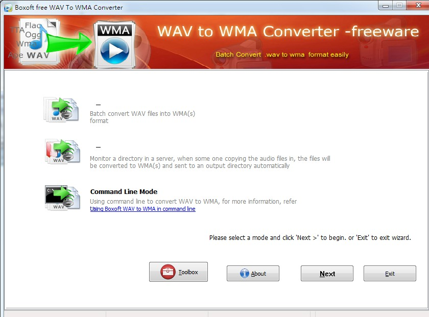 Windows 7 Boxoft WAV to WMA Converter (freeware) 1.0 full