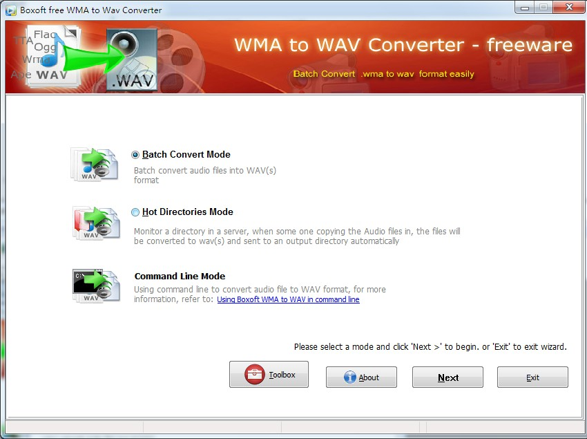 Boxoft WMA to WAV Converter (freeware) screenshot